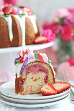 Strawberry Swirl Bundt Cake - SugarHero