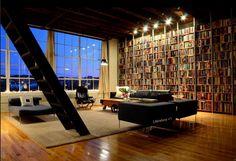Unha biblioteca particular moderna e espaciosa en Birmingham, Alabama, Estados Unidos.
