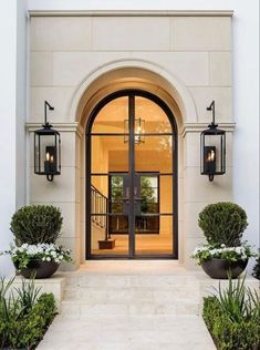This entry is gorgeous. Love the doors! This entry is gorgeous. Love the doors! Door Design, Exterior Design, Interior And Exterior, Classic House Exterior, Luxury Homes Exterior, French Exterior, Stone Exterior, Exterior Siding, Interior Plants