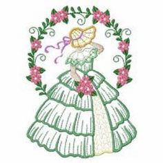 2 Sunbonnet Sue Bonnet lady Southern Bell roses embroidered fabric quilt blocks