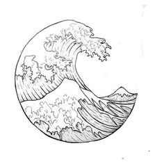 """The Great Wave"" outline. i want it as a tattoo ❤ liked on Polyvore featuring accessories and body art"