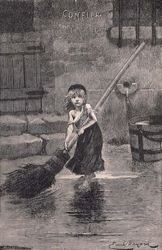 For those of you fans of Les Miserables, this is the original picture of the image that is used on the Les Miz Broadway Musical Posters, etc.  Essentially, eight year old Cosette has become the face of Les Miz.    I particularly like how the artist has her using this ginormous broom; I think it emphasizes the fact that this is a young child who is being used for slave labor.