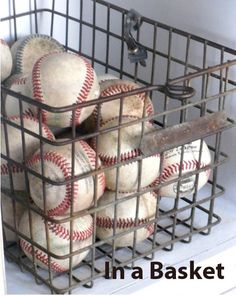 baseball display In a wire basket Modern Baseball Display Baseball Display, Baseball Party, Baseball Mom, Softball, Man Cave Diy, Man Cave Gifts, Man Cave Home Bar, Music Man Cave, Baby Boy Rooms