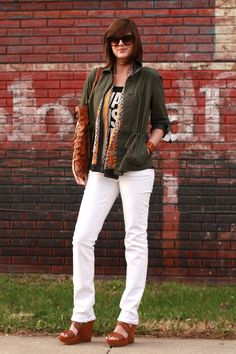 green jacket (i'm gathering up ideas for my own), white pants, and wedges