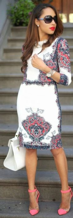 Luv to Look | Curating Fashion & Style: Fashion trends | Printed pencil dress, heels, tote