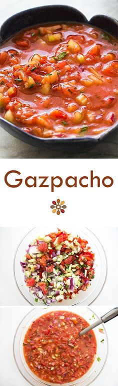 California version of the classic Spanish gazpacho! Chilled soup made with ripe fresh tomatoes, cucumber, bell pepper, celery, and onions. Perfect for a hot summer day! #healthy #vegan On SimplyRecipes.com