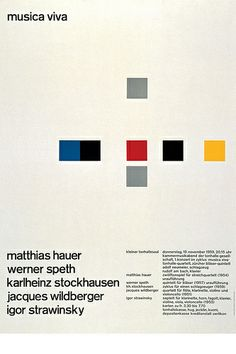 "Josef Muller-Brockmann ""Musica Viva"" poster design from Poster Design, Graphic Design Layouts, Graphic Design Posters, Graphic Design Inspiration, Layout Design, Print Design, Web Design, Style International, International Typographic Style"