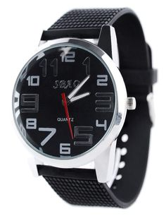(MISW15-BLACKBLACK) Stainless Rubber Band Buckle Quartz Analog Colorful Fashion Watch