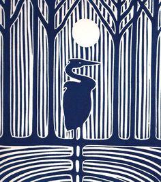 Night Heron, Linocut, Gregorio Perez