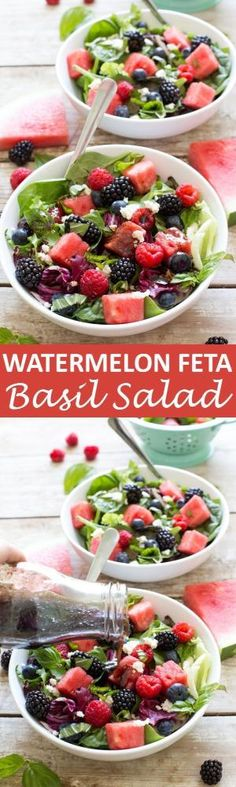 Watermelon Feta Salad loaded with tons of fresh berries and basil. Drizzled with a Simple Balsamic Vinaigrette. A light and refreshing summer salad! | chefsavvy.com #recipe #watermelon #feta #basil #salad #healthy #fruit by faye