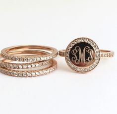 We're loving the #stacking trend, and these Adorable Stacking #Monogram Rings! $49.95  Rose Gold Cubic Zirconia Stackable Monogram Rings The rose gold plated over sterling silver monogram #ring and set of 3 cubic zirconia bands make a statement. The rose gold... #monogram #jewerly #monogrammed #personal #personalize #personalized #present #signet