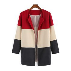 SheIn(sheinside) Colour-block Long Sleeve Woolen Coat (€20) ❤ liked on Polyvore featuring outerwear, coats, multi, color block wool coat, woolen coat, short coat, colorblock wool coat and long sleeve coat