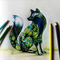 #florestaencantada #amo #johannabasford #jardimsecreto #jardimcolorido #raposa