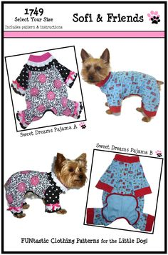 Dog Clothes Sewing Pattern 1749 Sweet Dreams Pajama for the Little Dog $8.25