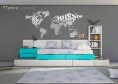 Dormitorio juvenil: Cama cubos Tetris, arrimadero alistonado y librería | Juvenil modular con cama nido y módulos de cajón con base a suelo y guías de extracción total, c