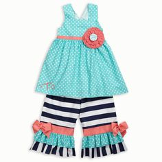 Don't you just LOVE this Adorable #LWD Outfit for Your Little One?! Sizes are Running Out Fast! Show NOW! http://www.lollywollydoodle.com/products/turquoise-dot-navy-stripe-coral-tie-back-ruffle-capri-set?utm_source=Pinterest