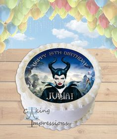 Maleficent Edible Frosting Image Cake Topper [ROUND]