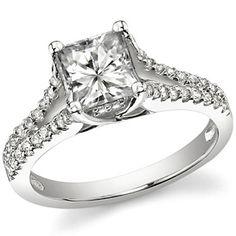 Square Brilliant Moissanite Split Shank Trellis Engagement Ring