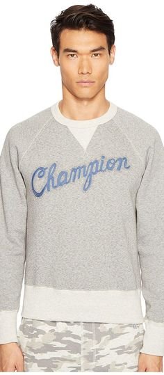 Todd Snyder + Champion Cursive Logo Graphic Sweatshirt (Antique Grey Heather/Eggshell Mix) Men's Sweatshirt - Todd Snyder + Champion, Cursive Logo Graphic Sweatshirt, KN51804037, Apparel Top Sweatshirt, Sweatshirt, Top, Apparel, Clothes Clothing, Gift, - Fashion Ideas To Inspire
