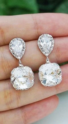 Items similar to Wedding Earrings Bridal Jewelry Bridal Earrings Bridesmaid earrings dangle earrings clear white Swarovski square drops on Etsy Bridal Accessories, Wedding Jewelry, Jewelry Accessories, Jewelry Box, Jewlery, Just In Case, Just For You, Bijoux Art Deco, Wedding Earrings