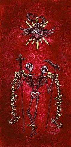 Guardians Of The Heart by David Lozeau Skeleton Canvas Art Print