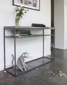 The Perspective Console features the signature Lyon Beton straightforward geometric design, with a concrete top and metal legs. Concrete Furniture, Metal Furniture, Cool Furniture, Shelf Furniture, Sideboard Modern, Sideboard Table, Console Tables, Beton Design, Interior Modern
