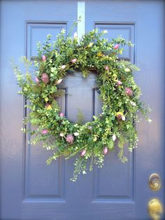 Boxwood Wreath  Spring Wreath  Pink and Green by WreathsByRebeccaB, $71.00
