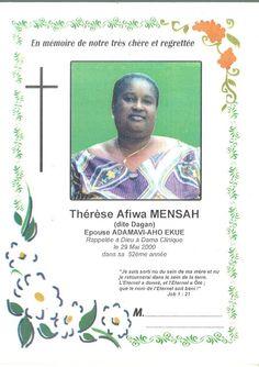 Ma mere Thérese Afiwa MENSAH mariée EKUE feu décédée ici la description de sa carte des voeux de cérémonie du funéraille