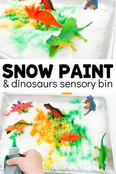 This fun sensory bin is full of things kids love - sensory exploration, messy art, and dinosaurs!! It's a chance for their imaginations to run wild, and learn a ton of science in the process. Sensory Bins, Sensory Activities, Winter Activities, Dinosaurs Preschool, Early Learning Activities, Messy Art, Dinosaur Crafts, Preschool Lesson Plans