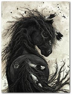 Friesian Black Horse Native American Feathers War Paint - Fine ArT Prints or ACEO by AmyLyn Bihrle via Etsy