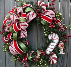 Christmas / Holiday Wreath  Candy Cane Wreath for by HornsHandmade, $84.00