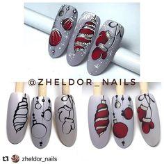 Regran_ed from zheldor_nails ? Nail Art Noel, Cute Christmas Nails, Holiday Nail Art, Xmas Nails, New Year's Nails, Winter Nail Art, Christmas Nail Art, Winter Nails, Diy Nails