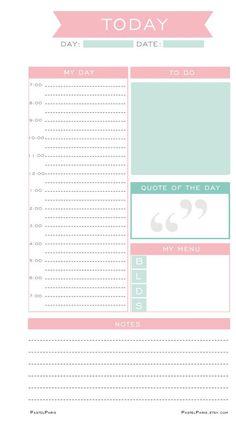 Daily Planner Insert Printable, Personal | PastelParis