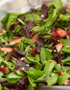 Mixed Greens with Strawberries, Walnuts, and Goat Cheese, Wholeliving.com #lunchbunch