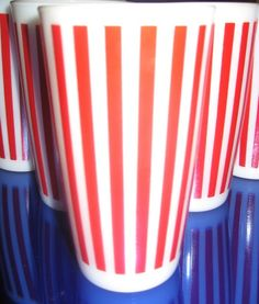 Hazel Atlas candy stripe tumblers - love love love want want want <3
