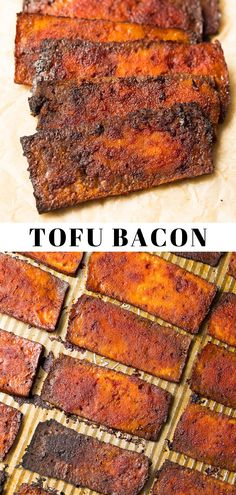 Rezepte Tofu Tofu Bacon, an easy and delicious alternative! Thinly sliced, marinated and baked to crispy, chewy, smoky perfection. Tofu Recipes, Bacon Recipes, Whole Food Recipes, Vegetarian Recipes, Cooking Recipes, Healthy Recipes, Vegetarian Bacon, High Protein Vegan Recipes, Cooking Tips