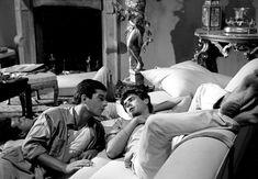 Jean-Claude Brialy and Tomas Milian in La notte brava directed by Mauro Bolognini, 1959 Crisp White Shirt, Brave, Cinema, Mens Fashion, Actors, Couple Photos, Film, Men's Style, Movie Posters