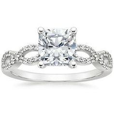 18K White Gold Infinity Diamond Ring, top view