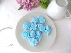 30 Ready to Ship Sky Blue Assorted Flower Shaped Molded Sugar Cubes Tea Mother's Day Garden Parties, Showers, Graduation, Embellishments by WishingwellArt on Etsy