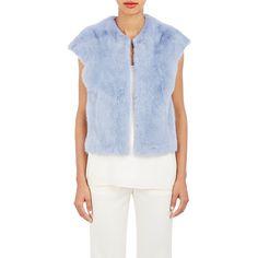 LILLY e VIOLETTA Mink Christine Gilet (35.820 DKK) ❤ liked on Polyvore featuring outerwear, vests, blue, collarless vest, blue slip, blue vest, mink fur vest и mink vest