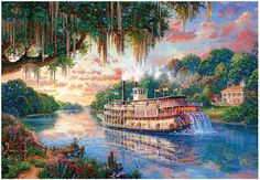 """Jigsaw Puzzles 1000 Pieces """"The River Queen"""" / Thomas Kinkade #PUZZLELIFE"""