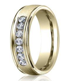 men's designer yellow gold wedding ring with 7 diamonds | 6mm width