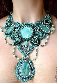 """Aqua Blue, Turquoise - """"Esmeralda"""" necklace by Natalia Uhryn Bead Embroidery Jewelry, Beaded Embroidery, Beaded Jewelry, Handmade Jewelry, Beaded Necklace, Unique Jewelry, Jewelry Accessories, Fashion Accessories, Fashion Jewelry"""