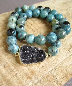 Black Druzy Bracelet Drusy Quartz African Blue by julianneblumlo, $88.00