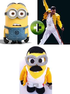Here is a fun minion inspired in Freddie Mercury! It is unique in the world! OH MAMA MIA, MAMA MIA! MINION  Height: 9,5 INCHES Width: 6,2 INCHES    See