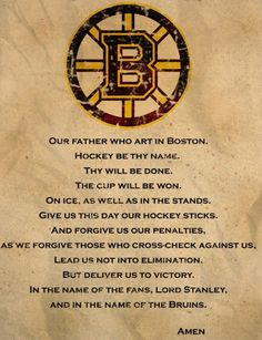da73217b0cd A Boston Bruins Prayer with Bruins logo on an old piece of faded parchment  paper.