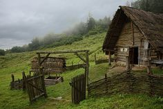 Old European culture: Log cabin Fantasy Places, Fantasy World, Casa Viking, Hawke Dragon Age, Early Middle Ages, Dark Places, Historical Architecture, Medieval Fantasy, Story Inspiration