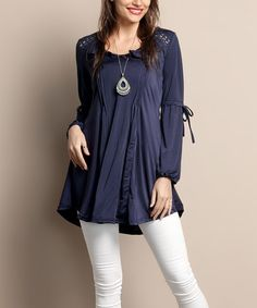 Look what I found on #zulily! Navy Peasant Tunic - Plus #zulilyfinds