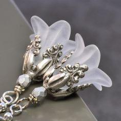 Lucite flower frost earrings.