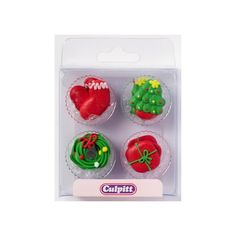 Culpitt Christmas Decoration Sugar Pipings from Bath Cake Company Cupcake Boxes, Cupcake Stands, Cupcake Decorations, Christmas Decorations, Baking Accessories, Christmas Cupcakes, Baking Supplies, Cake Shop, Wedding Cupcakes